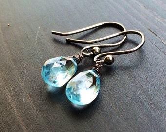 Sky Blue Topaz oxidized Sterling Silver Earrings. Petite. Minimalist jewelry.