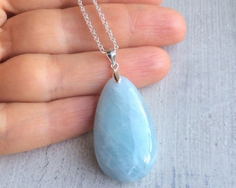 Aquamarine Stone Pendant Sterling silver Necklace