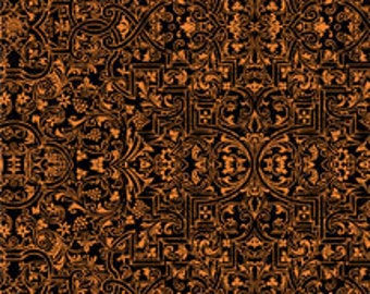 Something Wicked from Wilmington Prints - Full or Half Yard Brocade Black and Orange - Halloween