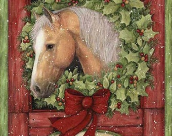 Christmas Welcome Wreath from Springs Creative - Horse Wreath Panel Merry Christmas