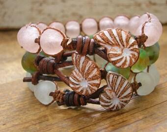 Sea glass wrap bracelet - Beachcomber - Beach boho jewelry frosted pink, ammonite seashell jewelry recycled glass leather bracelet nautical