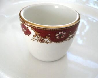 Antique English Salt Cup John Maddock Ultra Vitrified THF Red White Gold