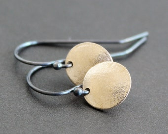 Earrings - Gold Circles with Sterling Silver Ear Wires - Matte Finish 10mm Discs