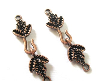Copper Hook Clasp - Leaf Shape Hook Clasp Set - Hook and Eye Pewter Clasp in Antiqued Copper 10 Pairs - Diy Jewelry Supplies - Bulk Options