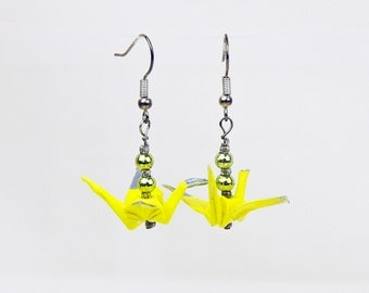 Eco-Friendly Origami Peace Yellow Crane Earrings