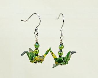Green Origami Peace Crane Earrings, Eco-Friendly Hand-made, green with flowers, paper gift