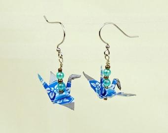 Blue Origami Peace Crane Earrings Hand-Made ec-friendly, paper gift