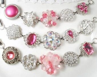 Bridesmaids Gift, Pink Crystal Bridal Bracelet CHOICE 1 Vintage Earring Bracelet,Rhinestone Pearl Silver Blush Fuchsia Glam Wedding or SET