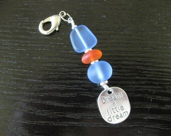 Dream a Little Dream Frosted Blue & Red Purse Charm