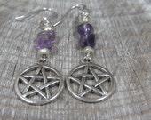 Amethyst Pentacle Earrings, Pentacle Earrings, Wiccan Jewelry, Witch's Pentacle, Amethyst Earrings, Amethyst Jewelry, Amethyst Gemstone