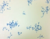 Line Drawing in Blue Ink on Japanese Paper / Musings in Blue