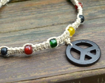 Hemp Rasta Necklace Black Peace Sign Glass Beads Jamaican Colors