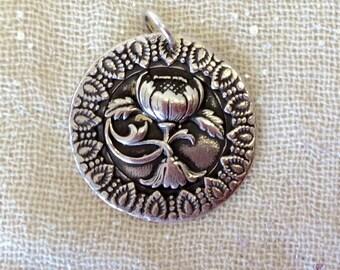 Pure Silver Poppy Pendant