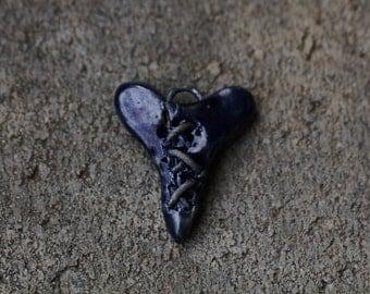 Heart pendant Ceramic heart Pendant Handmade heart clay heart steampunk heart bead organic earthy artisan jewelry supplies potterygirl