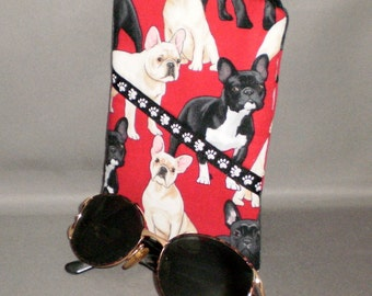 French Bulldogs Eyeglass or Sunglasses Case - Padded Zippered Pouch - iPhone - Cell Phone