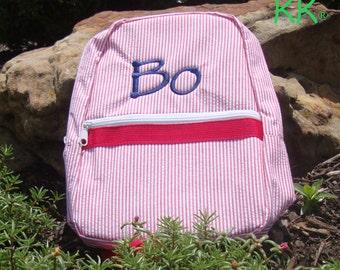 Personalized Backpack, Knapsack, Rucksack for Toddlers in Red Seersucker, Ring Bearer Gift, Flower Girl Gift