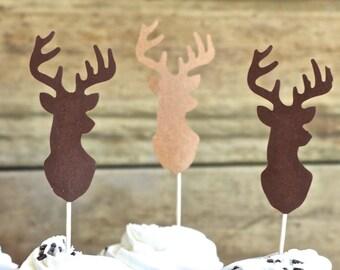 Deer Silhouette Cupcake Toppers - bucks in shades of brown