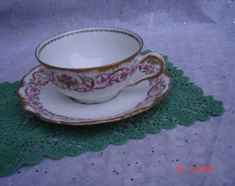 Antique Limoges France CA Depose Bone China Pink and Gold Cup and Saucer - Beautiful