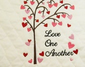 Love Tree, Hearts Wall Art, Wedding Gift, Embroidered Hearts, Add Frame,Made in Maine