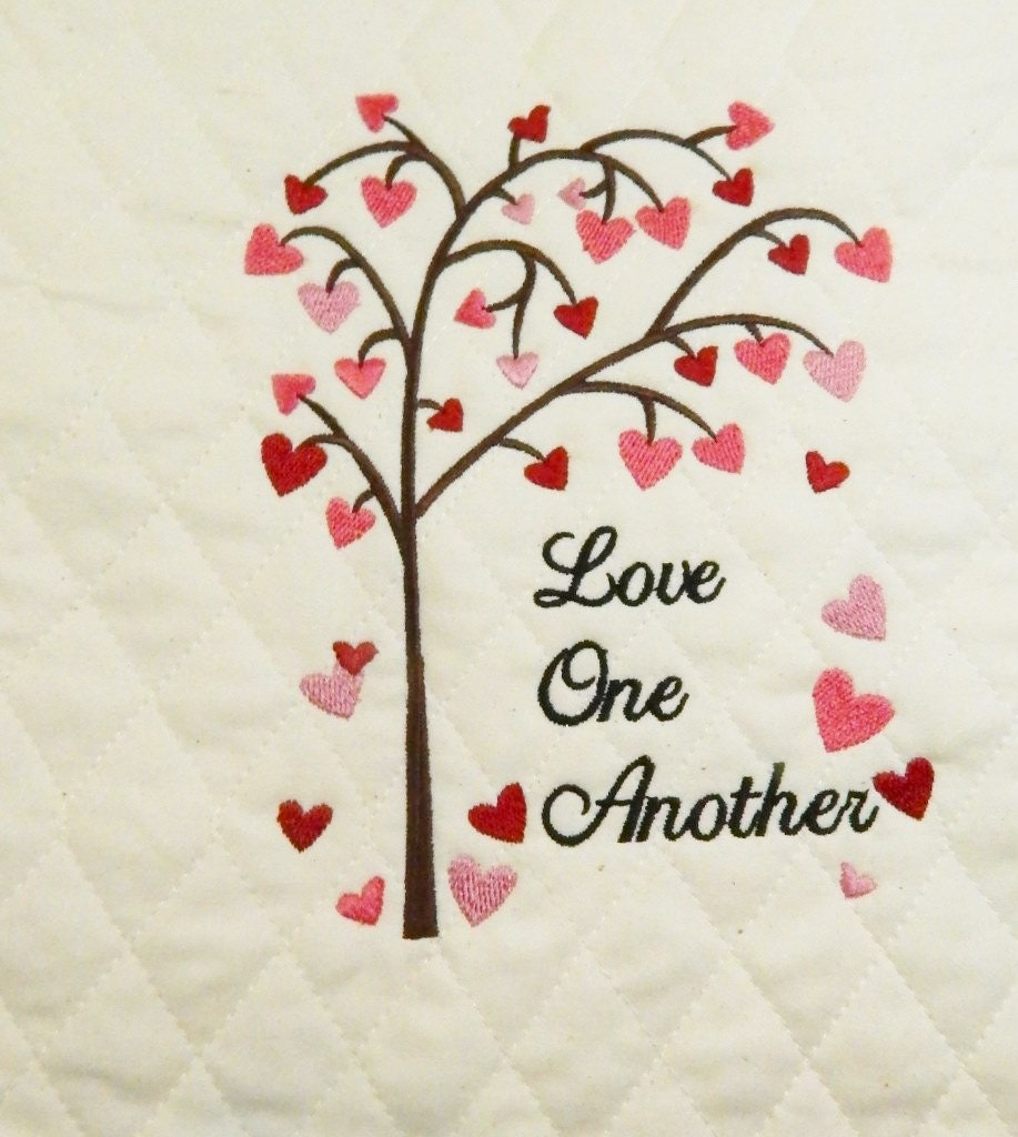 Wall Art Love Hearts : Love tree hearts wall art wedding gift embroidered
