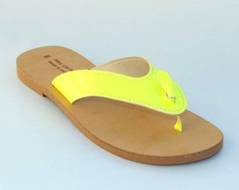 Greek Leather ( NEON)  Sandals