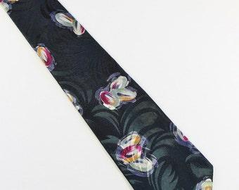 SALE - Vintage Modern Abstract Pattern Italian Silk Mens Necktie