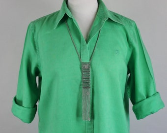 SALE - Vintage 90s Womens Bright Green Linen Summer Button Down Shirt