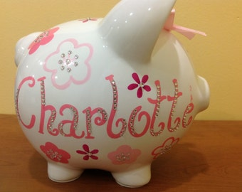 Personalized Large Pink/ Fuchsia/Rose Pink  flowers Piggy  Bank Newborns , Birthday Flower Girl,Baby Shower Gift Centerpiece