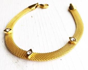 Gold Mesh Rhinestone Bracelet / Vintage
