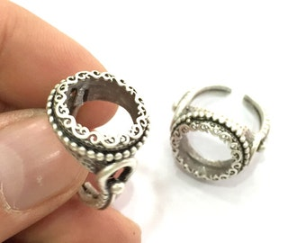 Adjustable Ring Blank (16mm Blank), Antique Silver Plated Brass G3504