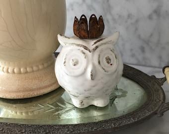 "3.5"" Ceramic fat owl with vintage Crown Statue Figurine"