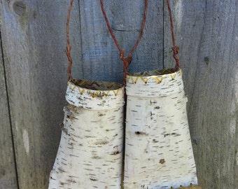 Two birch bark hanging vases,  birch bark vases