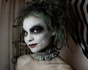 Tattered Grey Distressed Circus Clown ruff