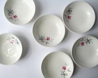 Vintage Canonsburg Citation Larkspur Fuschia Gray Floral Dessert Bowls Set of Six