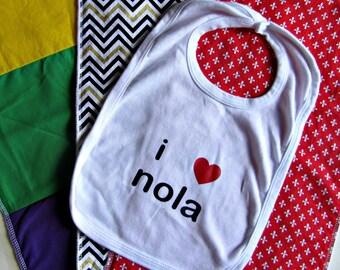 New Orleans Baby Gift Mardi Gras New Orleans Saints Baby Louisiana Baby Bib I Heart Nola Louisiana Baby Shower Gift Saints LSU Fleur de Lis