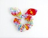 Bunny Ears Knot Bow Hair Scrunchie, Tie Dye Rainbow