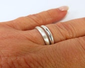 Simple Band Ring Sterling Silver Finish Shine and Brushed Silver Finishes Midi Ring Thumb Ring  Cyber Monday Sale