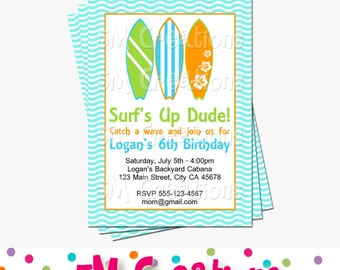 Surf's Up Invitation - Surfing Invite - Surf Board Printable Invitation - Surf Board Birthday Party - Ocean Printable Invite