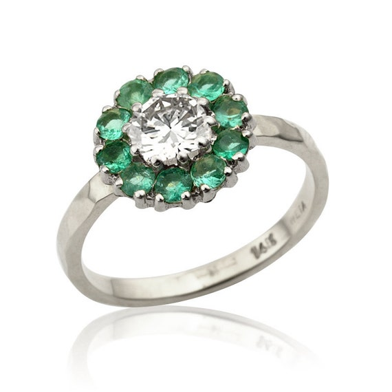 emerald engagement ring flower emerald ring in 14k