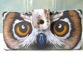 Handmade women's wallet clutch - Owl eyes beauty - beautiful eyes - Large white feathers - Custom order - Spoonflower fabric - gifts for her