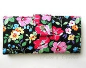 ON SALE - Handmade women wallet - black with bright floral - black and white dots - Gift for her - ID clear pocket - ready to ship