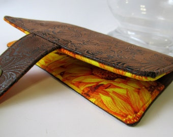 Handmade wallet brown faux tooled leather - floral #8 - bright yellow sunflowers - women clutch brown - Custom order