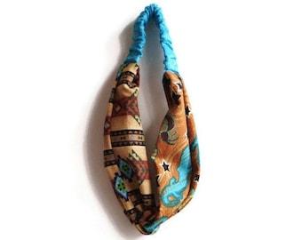 Southwestern Turban Headband, Tribal Twisted Headband, Brown Turquoise Twisted Headband, Southwest Twist Headband