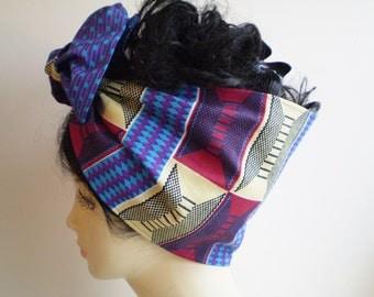 Small African Blue Maroon Beige Head Wrap, African Head Scarf, Wide African Head Wrap