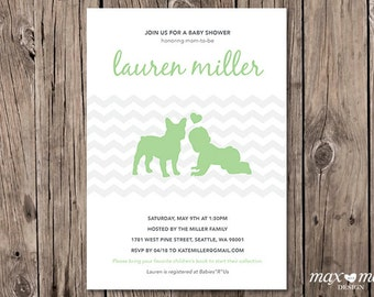 French Bulldog Baby Shower Invitation, Made to order, Custom  - 5x7in