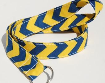 Blue & Gold School Spirit Chevron - Lanyard ID Badge Holder - Key Strap