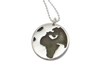 Silver Globe Pendant, Sterling Silver globe pendant, silver globe pendant, sterling globe pendant, silver globe pendant necklace, globe