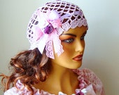 Crochet Bride Lace Pink Hat, Bridesmaid Pink Hat, Bride Fashion, Lace Women Hat, Crochet Pink Hat