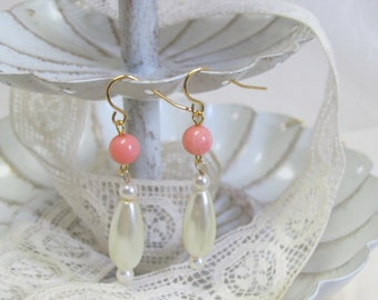 "Genuine Coral - ""Roman pearl"" Drop Earrings, Gold-Filled Earwires, Civil War Appropriate - Affordable Elegance"