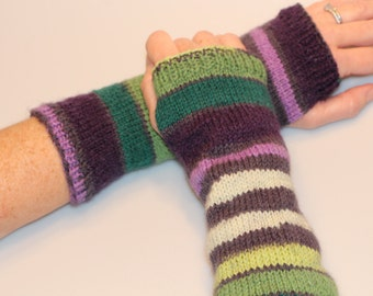Knit Fingerless Gloves Blue Red Green Orange Handwarmers Fingerless Glove Mittens Long Knit Gloves